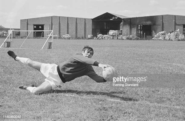 English goalkeeper David Harvey of Leeds United FC making a save during training UK 29th July 1969