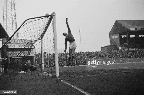 English goalkeeper Jimmy Montgomery of Sunderland AFC in action during a match against Cardiff City FC, UK, 10th February 1964.