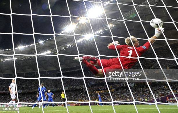 English goalkeeper Joe Hart jumps for the ball during the Euro 2012 football championships quarter-final match England vs Italy on June 24, 2012 at...