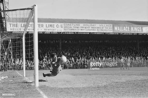 English goalkeeper Kevin Keelan of Norwich City FC making a save during a match against Cardiff City FC Norwich UK 29th April 1967