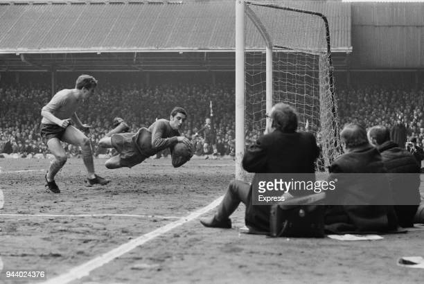 English goalkeeper Peter Shilton of Leicester City FC makes a save from English soccer player Joe Royle of Everton FC during a match UK 2nd April 1968