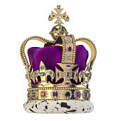 English golden crown with jewels isolated on white. Royal symbol of UK monarchy.