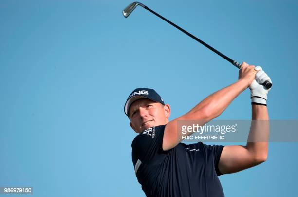 English golf player Matt Wallace competes in the second round of the HNA Open de France as part of the European Tour 2018 at the...