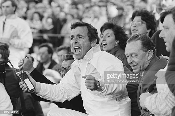 English golfer and non-playing captain, Tony Jacklin pictured cheering in celebration as he watches action for Team Europe to win the 1985 Ryder Cup...