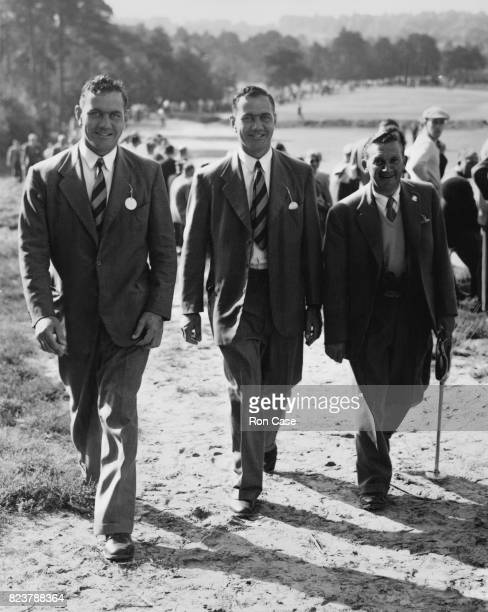 English golfer Arthur Lees with the Bedser twins Alec and Eric during the Ryder Cup match at the Wentworth Club Virginia Water Surrey UK 2nd October...