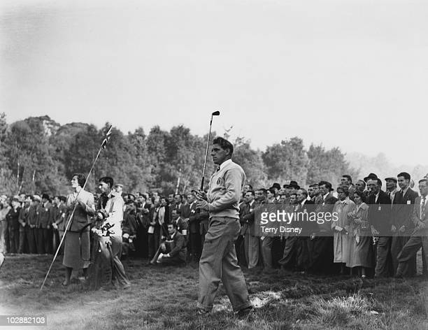 English golfer Harry Weetman plays from the rough at the 3rd fairway during his match against Sam Snead of the USA in the Ryder Cup at the Wentworth...