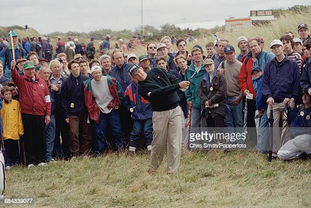 English golfer Lee Westwood pictured in action during competition to finish in joint 64th place in the 1998 British Open Championship at the Royal...