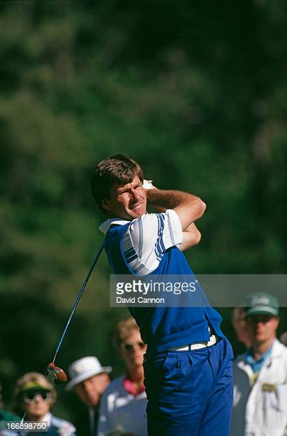 English golfer Nick Faldo at the US Masters Tournament at Augusta National Golf Club Augusta Georgia 5th8th April 1990 Faldo went on to win the title
