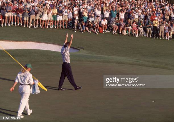 English golfer Nick Faldo celebrates after winning the US Masters Golf Tournament defeating Greg Norman of Australia by five strokes at the Augusta...