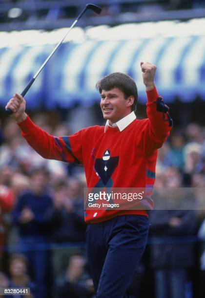 English golfer Nick Faldo celebrates his win at the end of the Suntory World Match Play Championship at Wentworth Club, 1989.