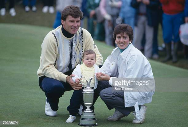 English golfer Nick Faldo celebrates with his wife Gill and baby Natalie after winning the British Open Golf Championship held at Muirfield Scotland...