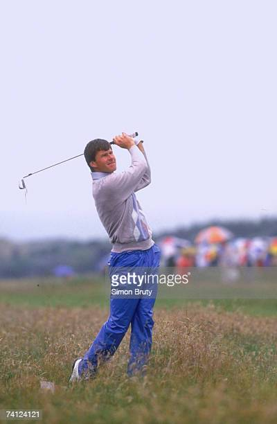 English golfer Nick Faldo competing in the British Open at Muirfield Scotland July 1987 Faldo won the competition