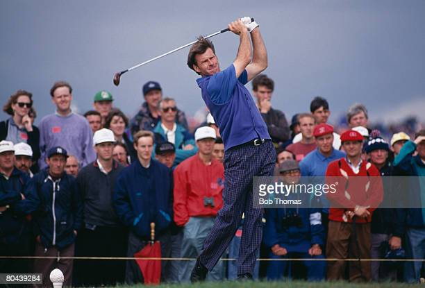English golfer Nick Faldo during the British Open Golf Championship held at Muirfield, Scotland, 15th - 19th July 1992. Faldo went on to win the...