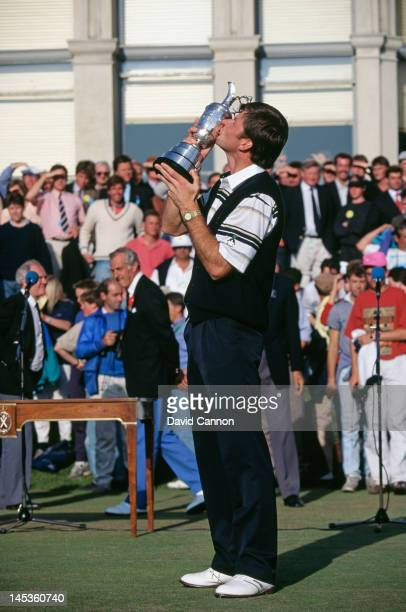 English golfer Nick Faldo kisses the trophy after winning the Open Championship at St Andrews Scotland 22nd July 1990