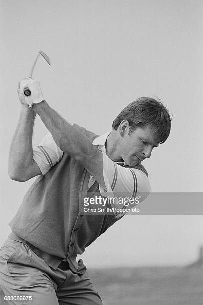English golfer Nick Faldo pictured in action during competition to win the 1990 Open Championship to become champion on the Old Course at St Andrews...