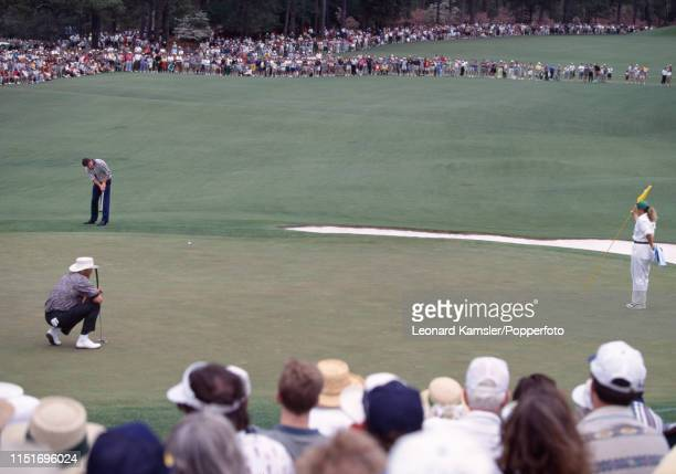 English golfer Nick Faldo putts enroute to winning the US Masters Golf Tournament at the Augusta National Golf Club in Georgia on 13th April 1996...