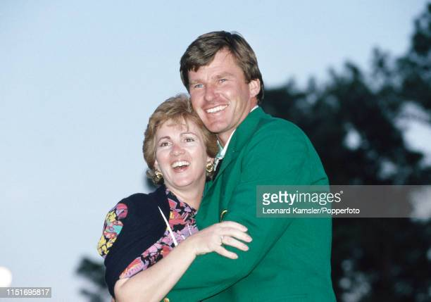 English golfer Nick Faldo wearing his Green Jacket with his wife Gill after winning the US Masters Golf Tournament for the second consecutive year at...