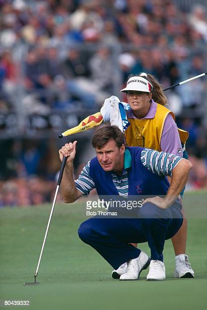 English golfer Nick Faldo with his caddie Fanny Sunesson during the British Open Golf Championship held at Royal St George's Sandwich between the...