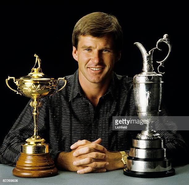 English golfer Nick Faldo with the Ryder Cup and the Claret Jug presented to the winner of the British Open Championship 20th April 1988