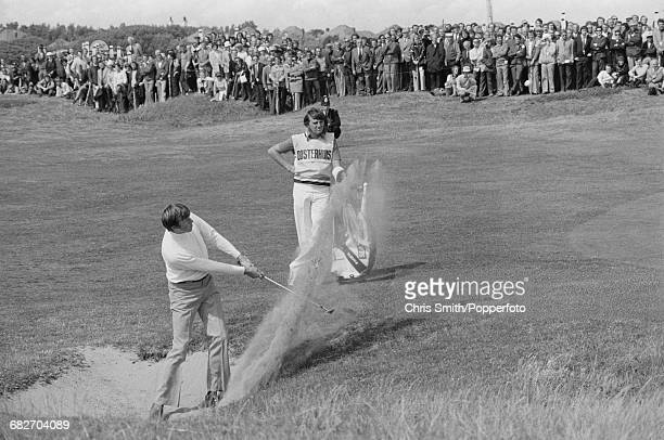 English golfer Peter Oosterhuis pictured in action to finish in second place in the 1974 Open Championship at Royal Lytham St Annes Golf Club in...