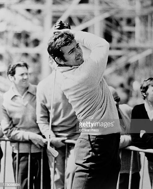 English golfer Tony Jacklin driving with an iron at the tenth hole during the second round of the Open Championship at Muirfield Golf Links, East...