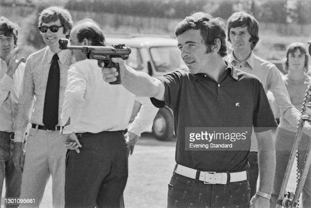 English golfer Tony Jacklin takes part in the televised sporting event 'Superstars' at Crystal Palace athletics stadium in London, UK, 20th August...
