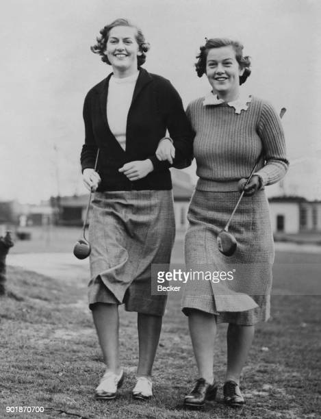 English golfing sisters Mervyn and Pamela Barton during the Ladies Golf Scratch Challenge Cup and Annual Open Championship at Roehampton UK 18th...
