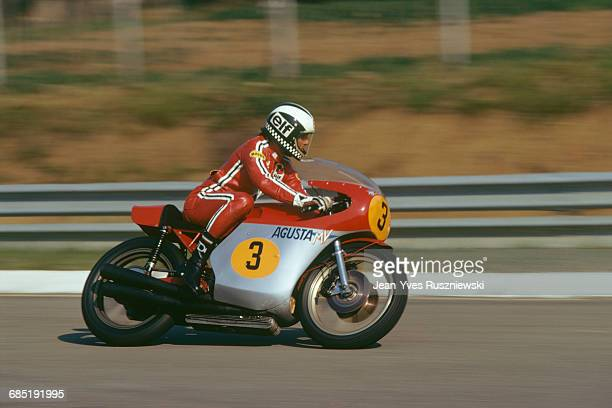 English Grand Prix motorcycle road racer Phil Read on an MV Augusta