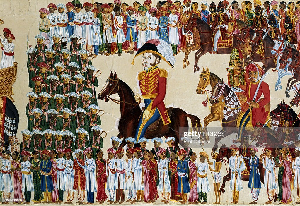 English grandee of the East India Company riding in an Indian procession, 1825-1830. : News Photo