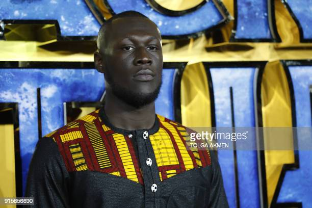 English grime and hip hop artist Stormzy poses on arrival for the European Premiere of 'Black Panther' in central London on February 8 2018 / AFP...