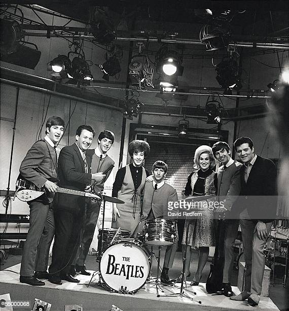 English group The Beatles posed on set with Helen Shapiro Dusty Springfield and Eden Kane during rehearsals for Ready Steady Go at Television House...