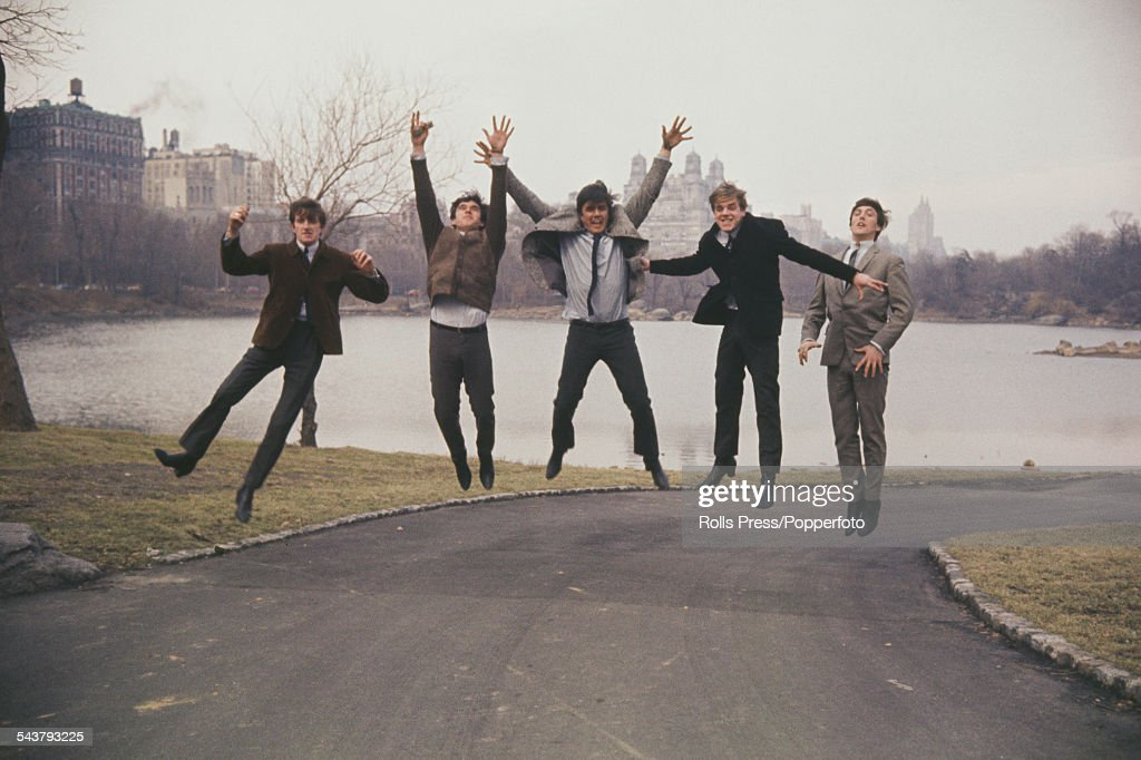 English group The Dave Clark Five leap in the air from a path in Central Park, New York on 4th March 1964. From left to right: Rick Huxley, Denis Payton, Dave Clark, Lenny Davidson and Mike Smith. (Photo by Rolls Press/Popperfoto/Getty Images