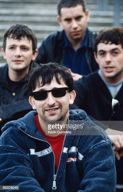 English group the Lightning Seeds at Wembley Stadium in London circa 1998 Clockwise from left are drummer Chris Sharrock guitarist Paul Hemmings...