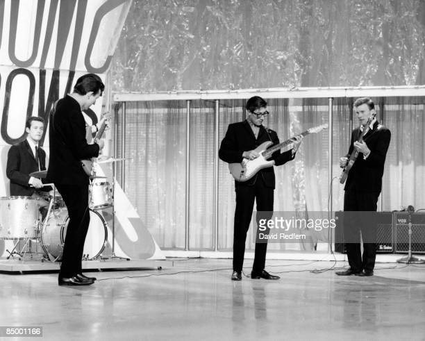 English group The Shadows featuring, from left, drummer Brian Bennett, guitarist Bruce Welch, guitarist Hank Marvin and bassist Brian Locking,...