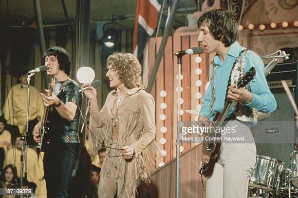 English group The Who perform on the set of the Rolling Stones Rock and Roll Circus at Intertel TV Studio in Wembley London on 11th December 1968...