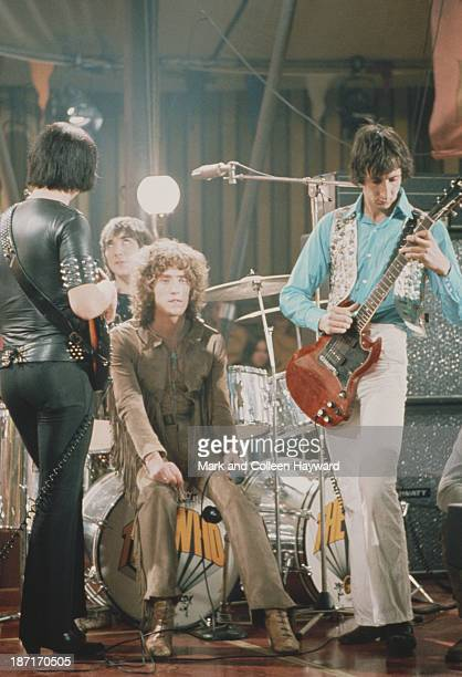 English group The Who pose together on the set of the Rolling Stones Rock and Roll Circus at Intertel TV Studio in Wembley London on 11th December...