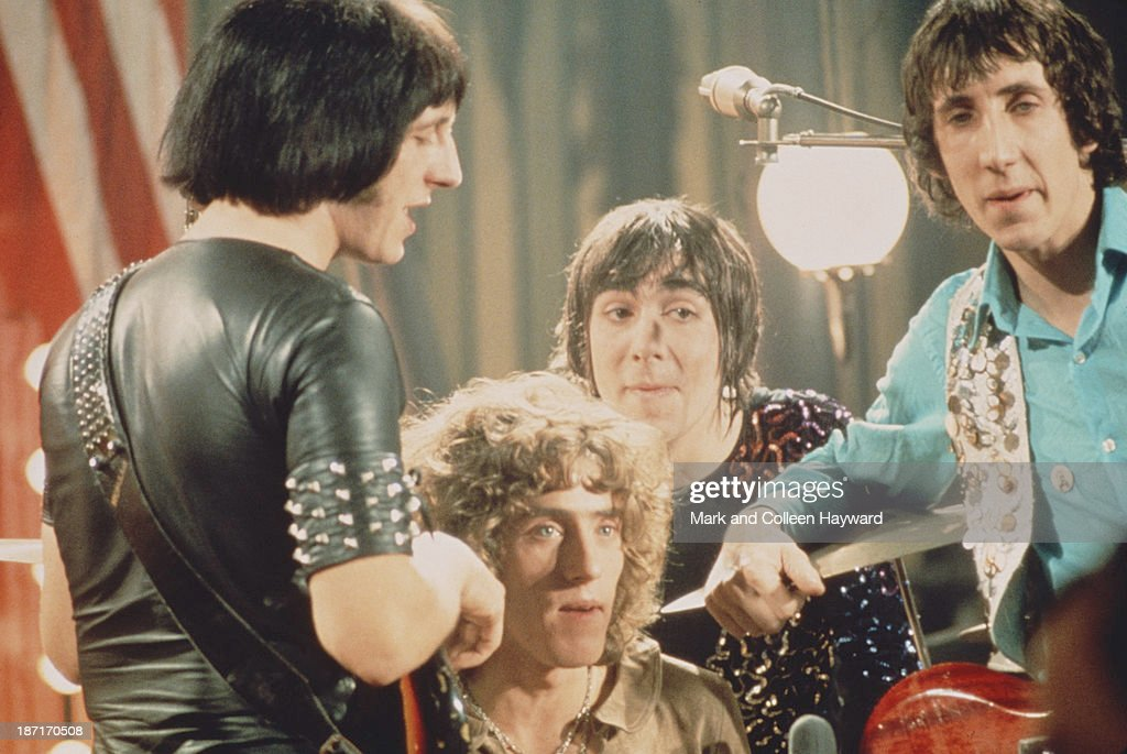 English group The Who pose together on the set of the Rolling Stones Rock and Roll Circus at Intertel TV Studio in Wembley, London on 11th December 1968. Left to right: John Entwistle (1944 - 2002), Roger Daltrey, Keith Moon (1946 - 1978) and Pete Townshend.