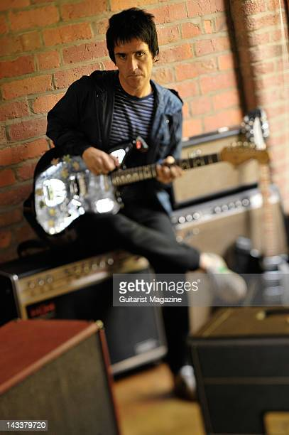 English guitarist and songwriter Johnny Marr most famous for his work with English alternative rock band The Smiths during a portrait shoot for...