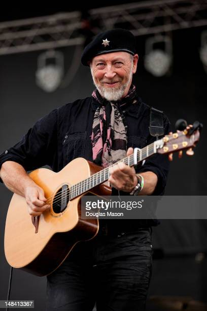 English guitarist and songwriter Richard Thompson performs at the 2012 Green River Festival at Greenfield Community College on July 15 2012 in...