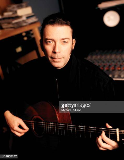 English guitarist and songwriter Steve Hackett in a recording studio March 1997
