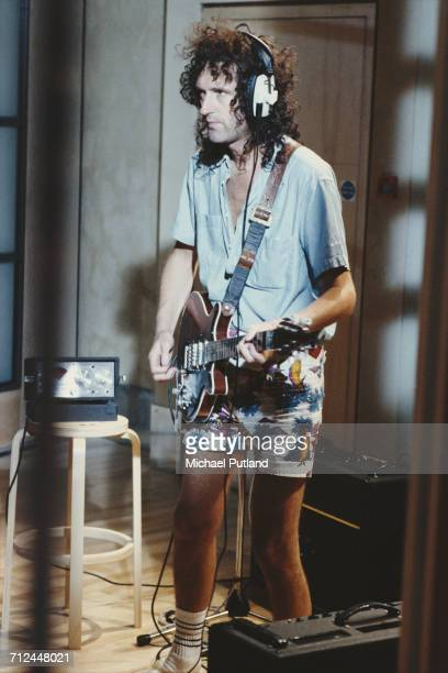 English guitarist Brian May of Queen recording for the Armenian earthquake appeal 'Rock Aid Armenia' at the Metropolis Studios in Chiswick London 8th...