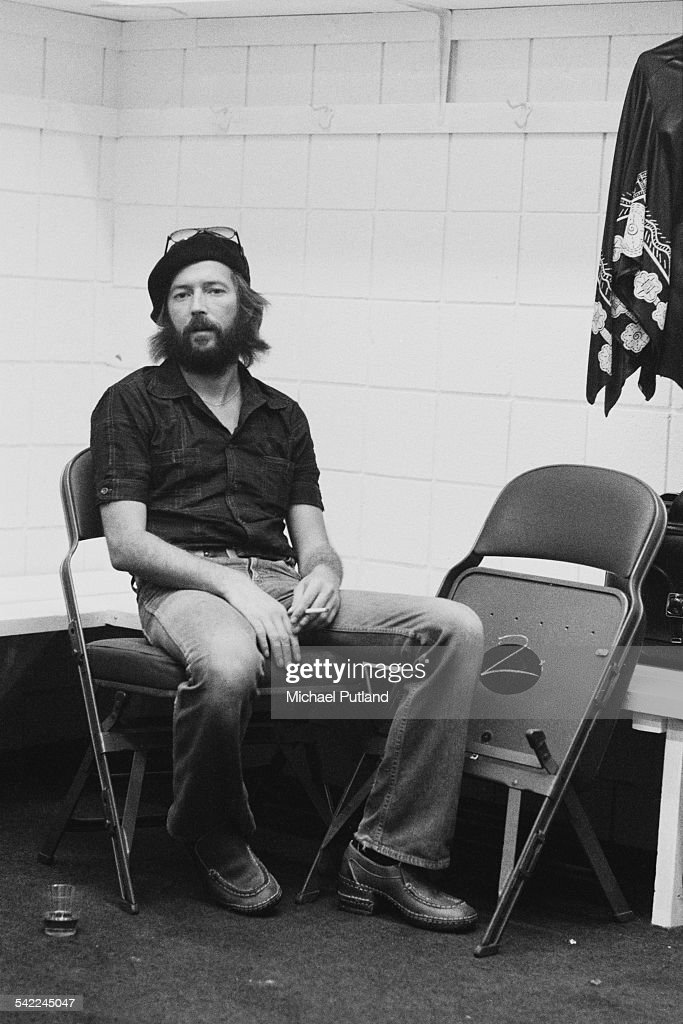 English guitarist Eric Clapton backstage during a US tour, 1st July 1975.