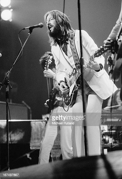 English guitarist Eric Clapton performing with an all-star line-up at the Rainbow Theatre in London, 13th January 1973. The concert was organized by...