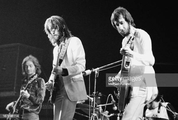 English guitarist Eric Clapton performing with an all-star line-up at the Rainbow Theatre in London, 13th January 1973. Left to right: Ric Grech,...