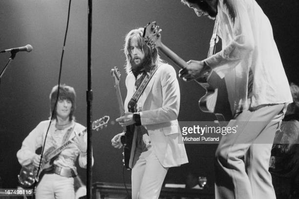 English guitarist Eric Clapton performing with an all-star line-up at the Rainbow Theatre in London, 13th January 1973. Left to right: Ronnie Wood,...