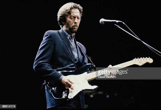 British guitar player Eric Clapton performs on stage in London in 1992