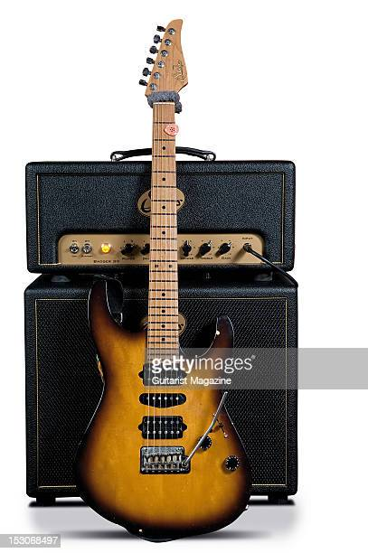 English guitarist Guthrie Govan's Suhr Signature Antique Modern electric guitar and Suhr Badger amplifier during a shoot for Guitarist Magazine...