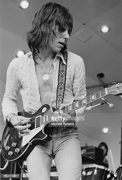 English guitarist Jeff Beck performing with hard rock supergroup Beck Bogert Appice at the Crystal Palace Garden Party festival at the Crystal Palace...