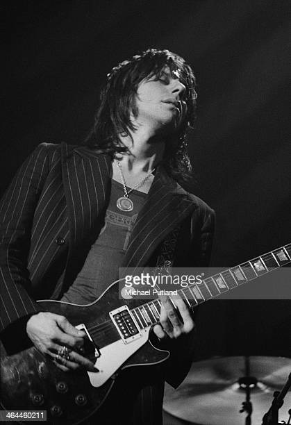 English guitarist Jeff Beck performing with performing with hard rock supergroup Beck Bogert Appice at the Rainbow Theatre London 16th January 1974