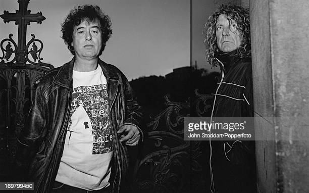 English guitarist Jimmy Page and singer Robert Plant formerly of rock band Led Zeppelin 1998